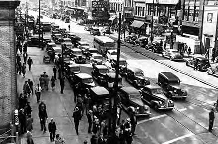 Traffic on Main Street in downtown Akron, Ohio in 1941