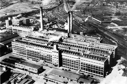 Aerial view of the Firestone's downtown Akron plant, 1935