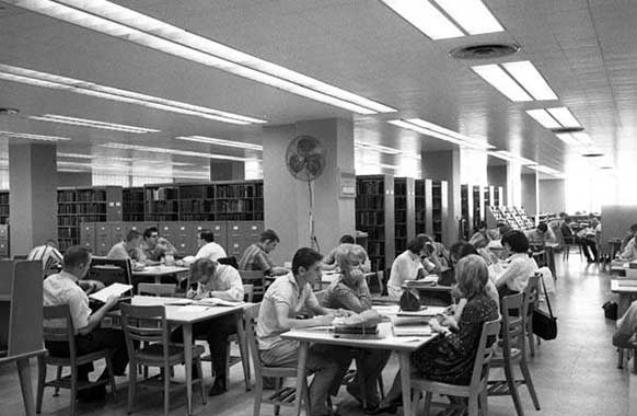The Library in Stilwell Hall, ca.1968.