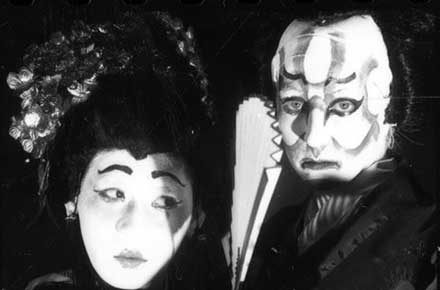 Jonathan Lopez as Lady Macbeth and Jessica Klein as Macbeth in Kabuki Macbeth, 1991.