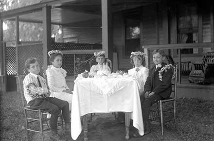 Children attending the birthday party of H. Louise Humphrey