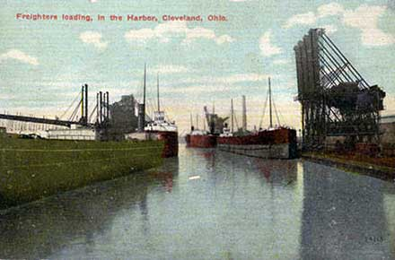 Freighters loading in the Harbor, Cleveland, Ohio