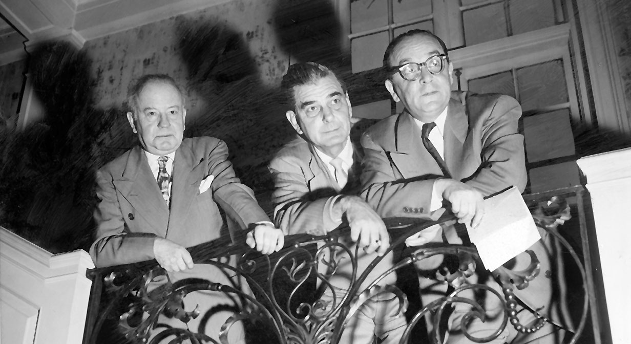 The Play House's famed triumvirate, Frederick McConnell, K. Elmo Lowe,  and Max Eisenstat, 1955.