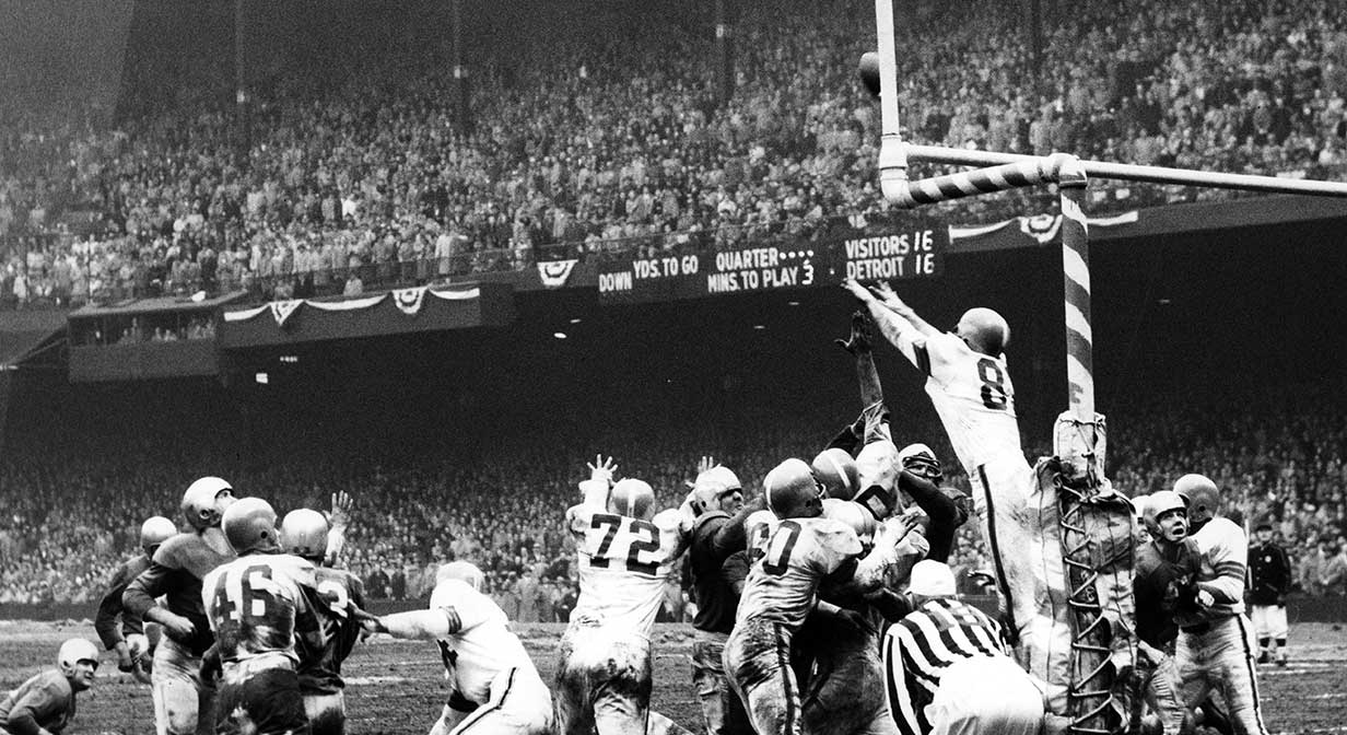 Cleveland Browns field goal that won them the NFL Championshio in 1952.