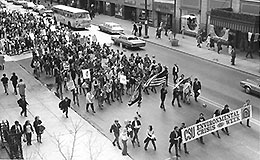 Earth Day march in Cleveland, 1970.