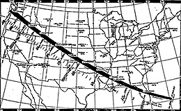 Map showing the path of the eclipse across the U.S. on June 8, 1918.