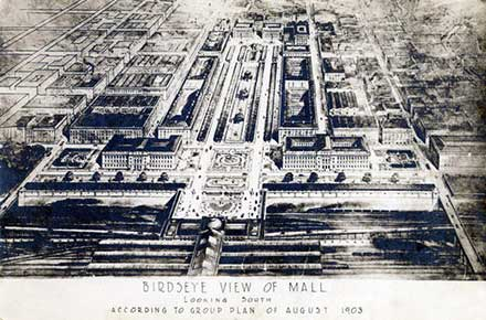 Birdseye view of Mall looking south according to Group Plan, 1903