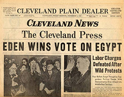 Upper half of front page of a 1956 Cleveland newspaper showing three mastheads