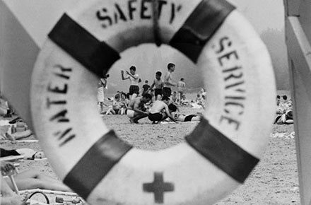 Mentor Headlands Beach viewed through life preserver, 1964.