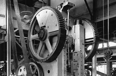 Machinery on factory floor at Parrish and Bingham Company, 1920?