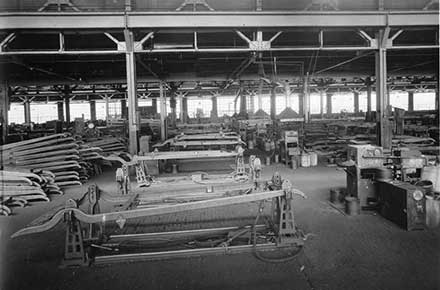 Steel frames at Parrish and Bingham Company, 1923
