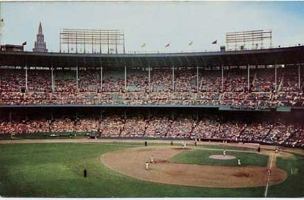 Cleveland Indians in Action at Cleveland Municipal Stadium