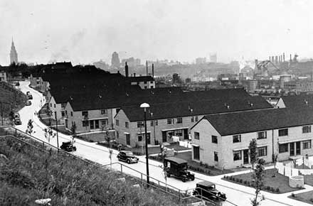 Valleyview public housing project looking towards Public Square, 1940