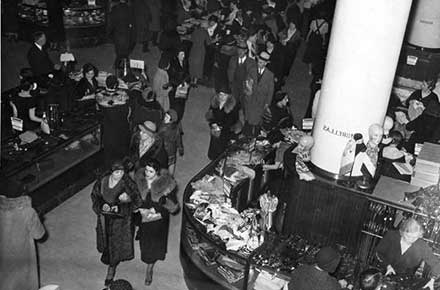 Crowds of shoppers inside the May Company store on Euclid Avenue, 1934