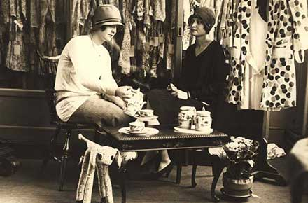 Two ladies drinking tea at Sterling-Lindner-Davis department store, 1928.
